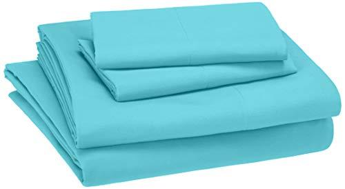 AmazonBasics Kid's Sheet Set - Soft, Easy-Wash Microfiber - Queen, Bright Aqua