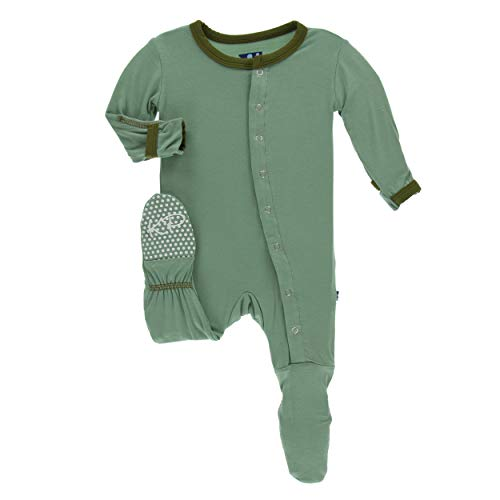 Kickee Pants Little Boys Solid Footie with Snaps - Shore with Moss, 12-18 Months