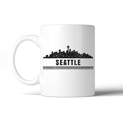 365 Printing Skyline-Seattle Downtown Distressed White Mug (11 oz)