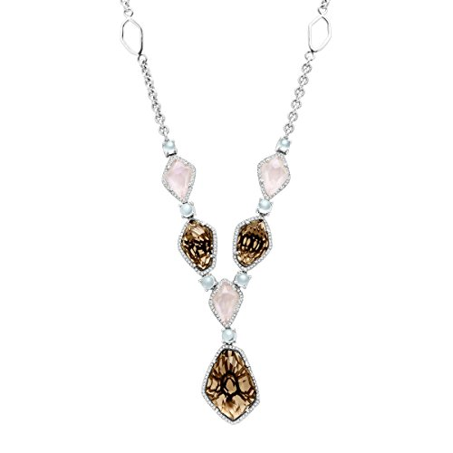 23 ct Natural Quartz, Aquamarine & 5/8 ct Diamond Necklace in Sterling Silver by Finecraft