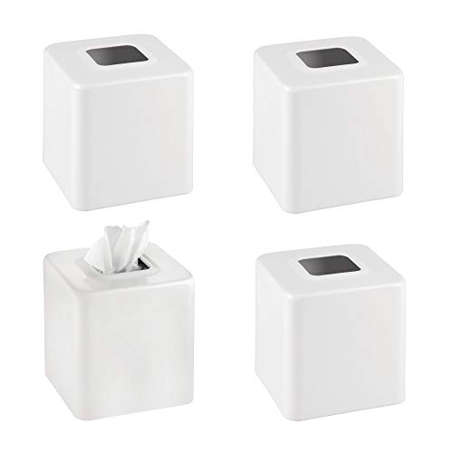 mDesign Modern Square Metal Paper Facial Tissue Box Cover Holder for Bathroom Vanity Countertops, Bedroom Dressers, Night Stands, Desks and Tables - Pack of 4, Matte White ()