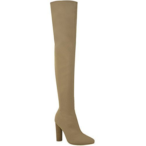 Fashion Thirsty Womens Ladies Thigh High Stretch Knit Boots Over The Knee Celeb High Heels Size Mocha Brown Fine Knit
