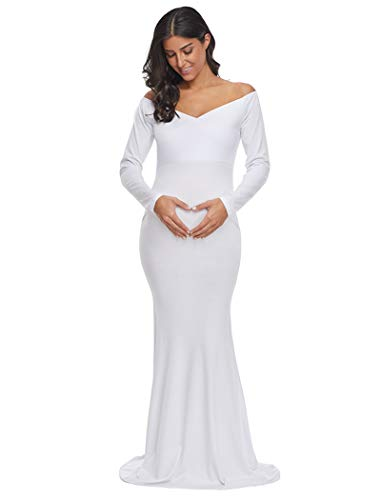 Ecavus Women's Off Shoulder Maternity Slim Fitted Gown Cross-Front V Neck Ruched Long Sleeve Maxi Photography Dress