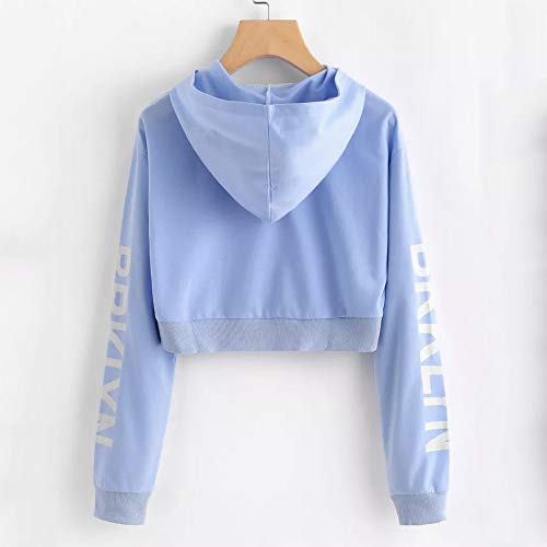 Long Blue Blouse Hoodie Womens Tops Pullover Sleeve Letters Sweatshirt Morwind zwfqEw