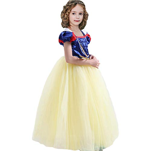 CQDY Snow White Costume for Girls Dress up Princess Dress Halloween/Party/Christmas Special Occasion for 6-7T ()