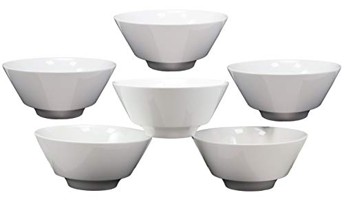 """Ebros Kitchen Dining Modern Contemporary Design Large White Porcelain Trapezoid Round Bowl 44 Ounces 8.5""""Diameter Restaurant Supply Dishwasher Microwave Safe For Cereal Ramen Pho Soup Pasta Dinner (6)"""
