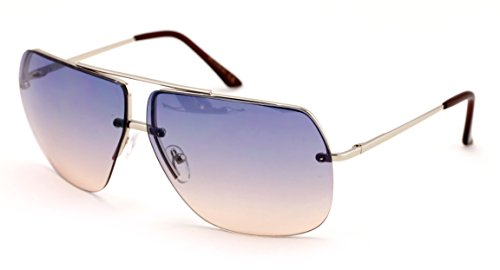 VW Eyewear - Limited edition colorful lens rimless metal aviator sunglasses - Sunglasses Gray Lens