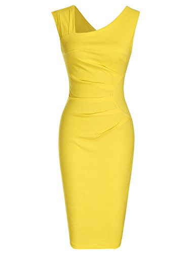 MUXXN Women's 1950s Sleeveless Slim Business Pencil Dress (L,Yellow) ()