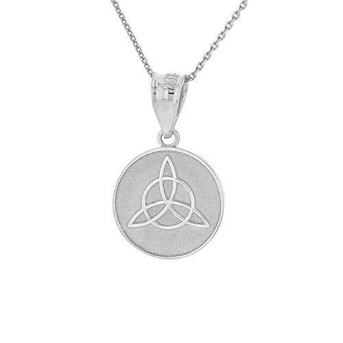 Dainty 14k White Gold Irish Infinity Circle Celtic Trinity Knot Disc Necklace, 16