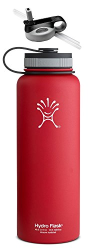 Hydro Flask Insulated Stainless Steel Wide Mouth 40 oz Water Bottle with Flat & Straw Lid (Lychee Red w/Straw Lid, 40 Oz)