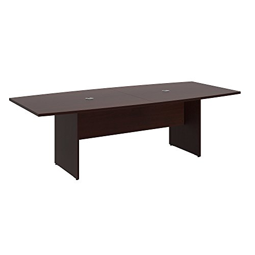 Bush Business Furniture 96W x 42D Boat Shaped Conference Table with Wood Base in Harvest Cherry