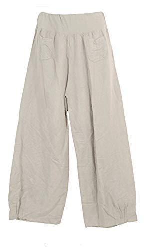 Parche De Gris Delantera Cinturilla 2 R14 Elástico La Lino Bolsillos Pantalones Talla Plus Con En Parte Celebmodelook Mujer CUzqS