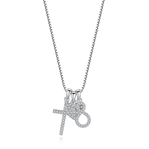 Usview Heart Infinity Endless Love Cross CZ Pendant Necklace, Jewelry Gifts for Her, Girl, Women Friendship, 18'' (set) by Usview (Image #3)