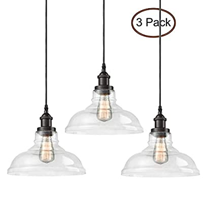 CLAXY Ecopower Industrial Pendant Lighting Glass Oil Rubbered Bronze Hanging Light Fixtures-3 Pack