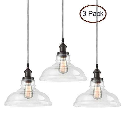 CLAXY Ecopower Industrial Pendant Lighting Glass Oil Rubbered Bronze Hanging Light Fixtures-3 Pack ()
