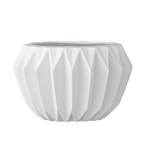 Bloomingville A21900018 Round White Fluted Ceramic Flower Pot ()