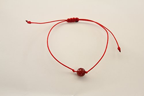 Two healing and protective handles with semiprecious stones and quartz of volcanic origin | Adjustable size | For Women and Men | Red Cord. (Spherical Garnet) -