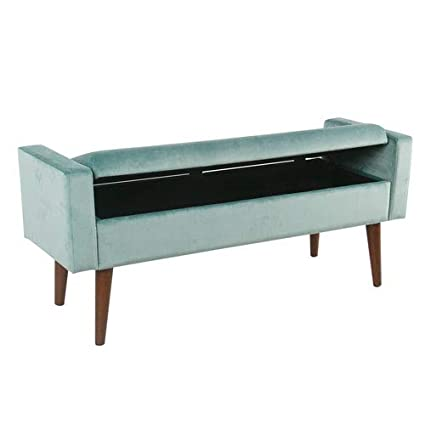 Terrific Meadow Lane Velvet Storage Bench Aqua Blue Squirreltailoven Fun Painted Chair Ideas Images Squirreltailovenorg