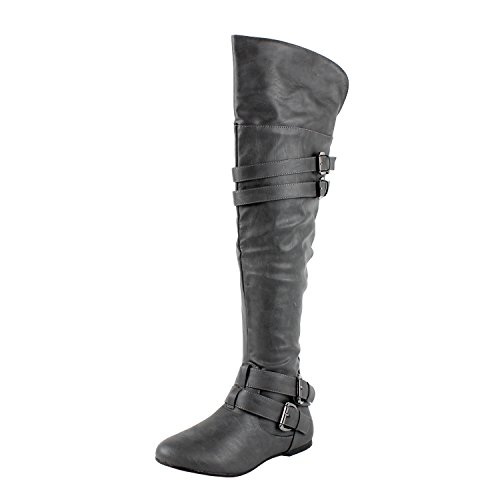 West Blvd Kinshasav2.0 Riding Boots, Grey Pu, 7 (Grey Womens Riding Boots)