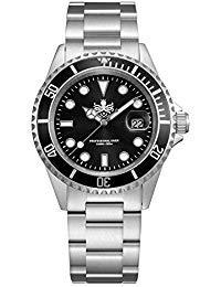 Phoibos Men's PX002C 300M Dive Watch Swiss Quartz Black Sport Watch - Water Sapphire Resistance Crystal