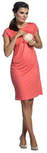 Zeta Ville - Premamá Vestido de lactancia efecto 2 en 1 capa - para mujer - 971c Coral