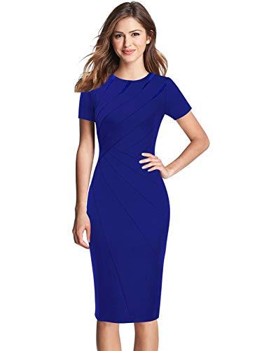 VFSHOW Womens Elegant Royal Blue Crew Neck Patchwork Work Business Office Sheath Dress 2779 BLU XL