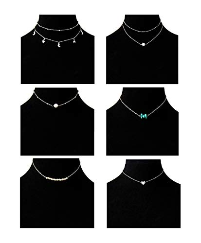 Masedy 6Pcs 18K Gold-Plated Layered Pendant Choker Necklace Chain Choker for Women Girls Adjustable Silver