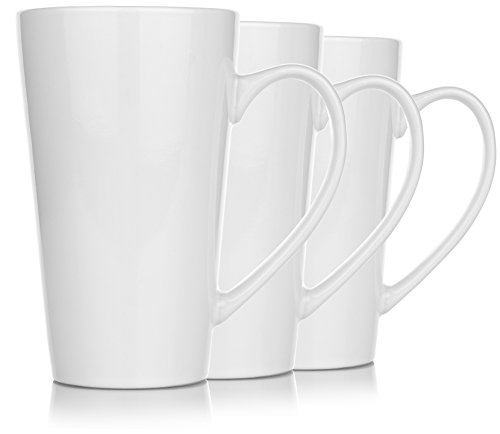 Tall Porcelain (Hikari 20oz Large Tall White Coffee Funnel Mugs. Heavy Duty Mugs w/ Large Handles Used for Tea or Other Drinks, Set of 3)