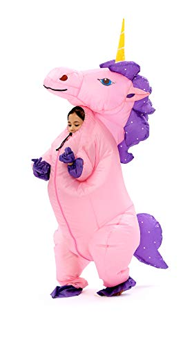 Inflatable Unicorn Costume Horn Horse Halloween Suit for Kids(Gold-Kid) ()