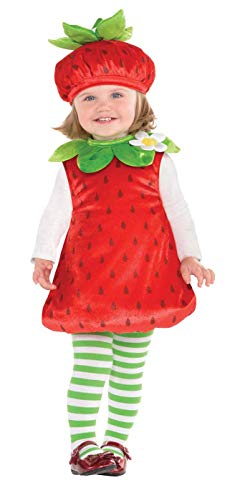 (Suit Yourself Strawberry Costume for Babies, Size 12 Months to 24 Months, Includes a Romper, a Hat, and Striped Tights)