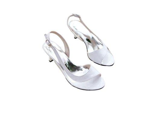 Charme Pied Mode Femmes Pompes Talon Bas Bout Ouvert Sandales Chaussures Blanc