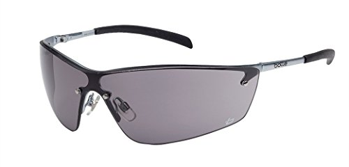 Bolle Safety Glasses Silium Eyewear with Silver Metal Frame and Smoke Lens Sunglasses SILPSF 40074