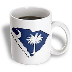 (3dRose South Carolina State Flag in The Outline Map, Ceramic Mug, 11-Oz)