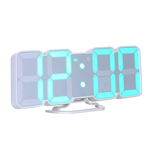 VDT. 3D Wireless Remote Digital Alarm Clock USB Powered Temperature/Date Display RGB LED 3-Level Brightness Sound Control Wall Clock