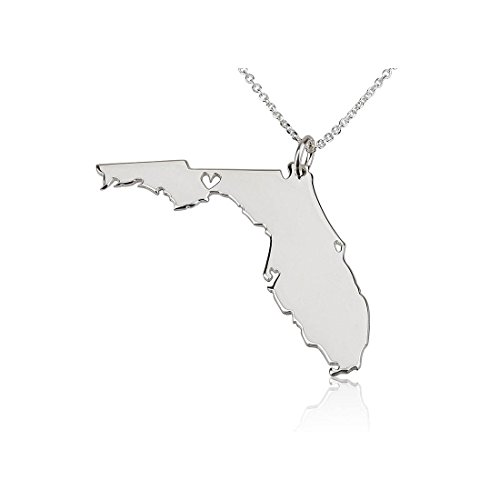 State Necklace Florida State Charm Necklace Sterling Silver State Necklace with a Heart (16 (Sterling Silver Florida State Charm)