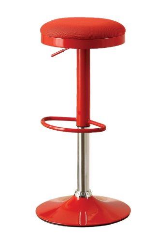 Furniture of America Bailey Mesh Top Swivel Backless Bar Stool, Red, Set of 2 (Bailey Stool)