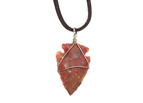 Fundamental Rockhound: Dark Red Jasper Arrowhead Necklace Pendant on 18