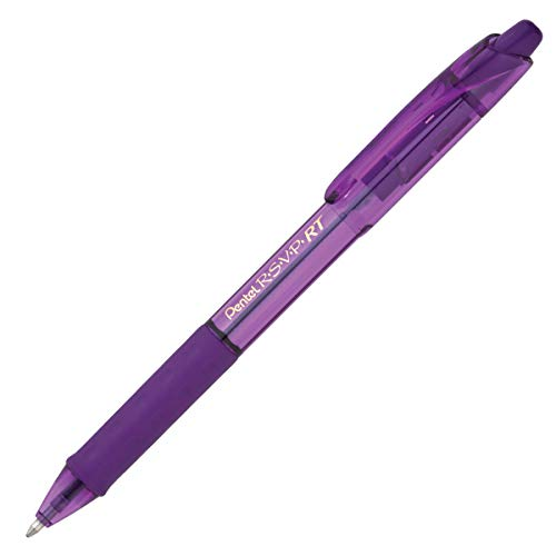 (Pentel R.S.V.P. RT Colors New Retractable Ballpoint Pen, Medium Line, Violet Barrel, Violet Ink, Box of 12 (BK93CRV-V))