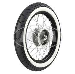 Komplettrad - HINTEN - 1,5x16 Zoll - Alufelge schwarz eloxiert und poliert, Chromspeichen - MITAS-Weiß wandreifen MC2 montiert MZA Meyer-Zweiradtechnik GmbH 60185-C-70-1