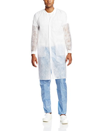 Disposable Lab Coat - ValuMax 3290WHM Money-Saver, Disposable Isolation Knee Length Lab Coat, Splash Resistant, White, M, Pack of 10