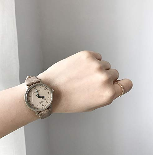 Unique Women Gift Students Atmospheric Style Women Girls Table Retro Art Small dial Quartz Watch Fashion Watch (Champagne