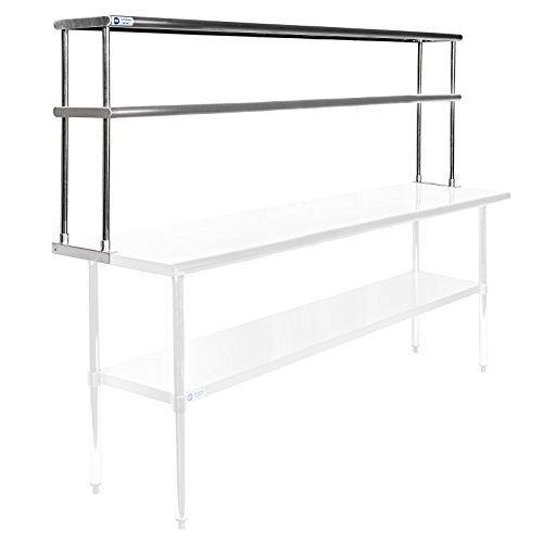 12 Gauge Workbench Steel (GRIDMANN NSF Stainless Steel Commercial 2 Tier Double Overshelf - 72 in. x 12 in. - for Kitchen Prep & Work Table)