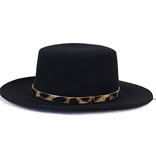 Fedora Hats Pure Wool Large Brim Winter Pork Pie hat Leopard Band Fedoras for Men Black