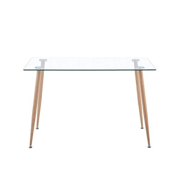 GOLDFAN Bureau en Verre Rectangulaire Table Moderne Bureau d'ordinateur Table Scandinave AVCE Pieds en Métal 110x70x75cm