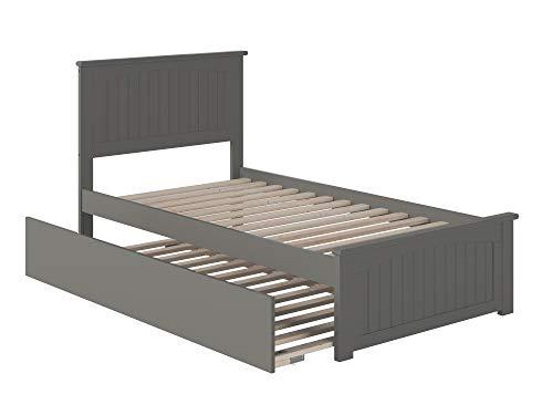 Atlantic Furniture AR8226019 Nantucket Platform Bed with Matching Foot Board and Twin Size Urban Trundle, Twin, Grey