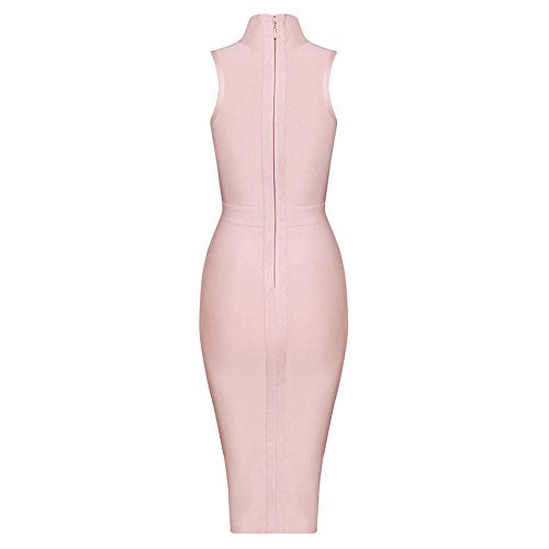 Sleeveless Bandage Rosa Sexy High Bodycon Dress Hlbandage Women's Neck Midi qT1xnEg0