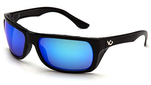 (Pyramex Venture Gear Vallejo Sunglasses, Black Frame/Ice Blue Mirror Anti-Fog)