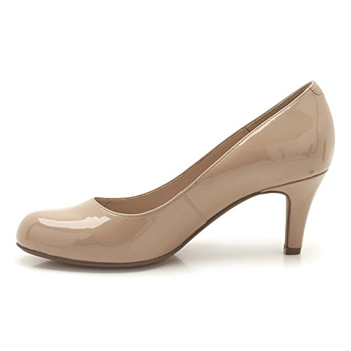 Clarks Arista Abe - Zapatos de vestir de material sintético para mujer Beige (Nude Patent)