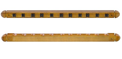 Solid Wood Wall Rack Holder for 12 Pool Cues Honey