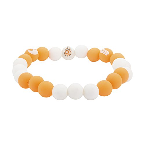 Star Wars Jewelry Women's Episode 7 BB-8 Silicone Bead Stretch Bracelet, White/Yellow, Expandable
